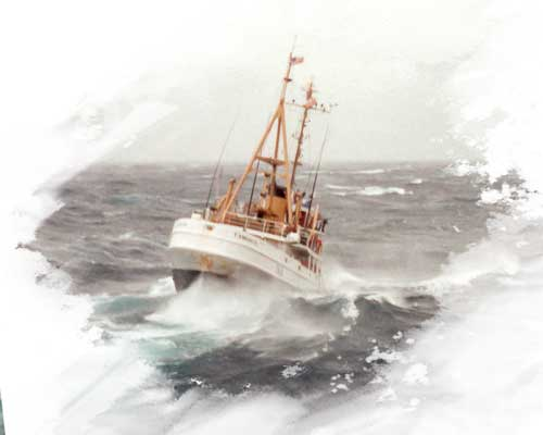 Ship in stormy waters disabled offshore