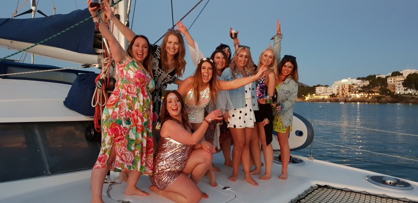 Mallorca private catamaran day trip sunset hen party