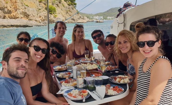 Mallorca catamaran trips - sail go catamaran - BBQ lunch during sailing trip