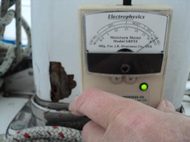 MOISTURE METER READING AT BASE OF MAST