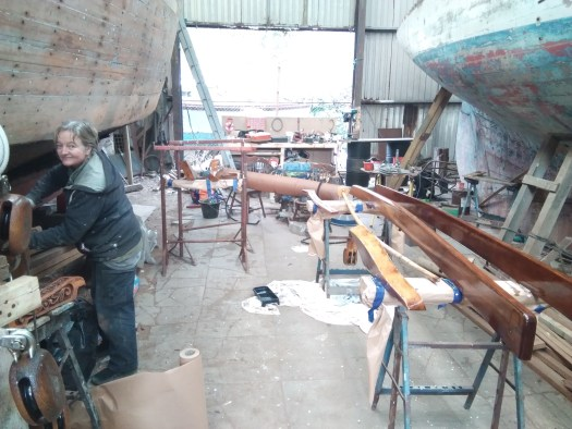 Varnished wooden boat parts