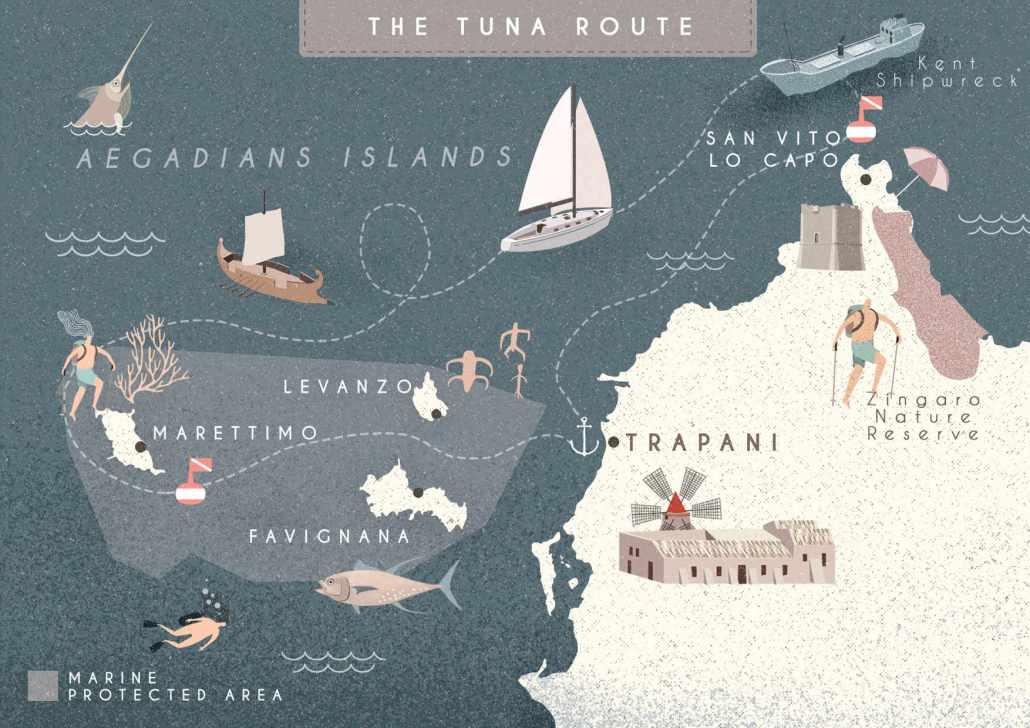 The tuna route, Sailing Bubbles itinerary © Il cielo in una sogliola