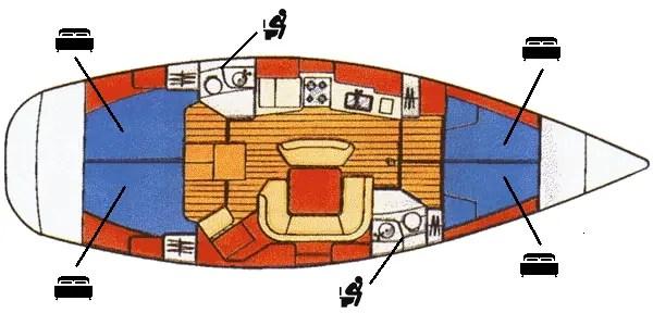 Sun Odyssey 45.2 Mappa