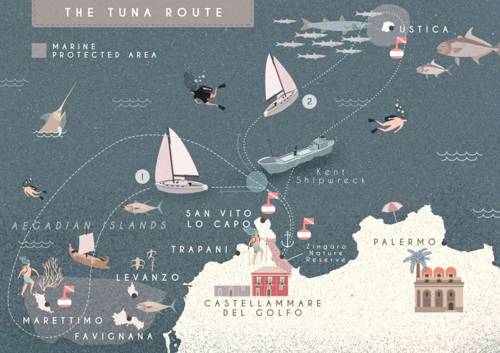 The tuna route, Sailing Bubbles itinerary © Il cielo in una sogliola