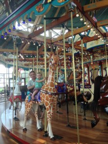 Riding a giraffe!