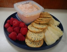 Our mid-way snack: Dubliner cheese, red pepper and feta spread, fresh raspberries and crackers. We do cruising right!