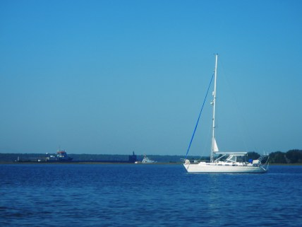 We anchored across from a naval submarine base, so some of the passing traffic was rather unusual for us :)