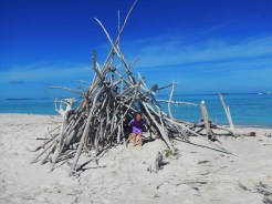 Driftwood hut on Spoil Bank Cay, created back in the 1980s when a deep channel was dredged for cruise ships to pass to and from Great Guana. The cruise ships stopped coming more than 10 years ago because the seas were too unpredictable, but this spoil island and the deep channel remain.