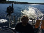 Mark helming Errant out of Willsboro Bay. (Sept. 7, 2014)