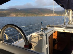 Heading to service dock at Willsboro Bay Marina on October 3, 2014 to haul DaCapo for the winter.