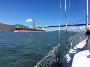 Freighter heading west under the Golden Gate.