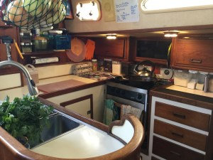 Clean galley with everything put away.
