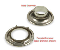The male and female halves of a spur grommet