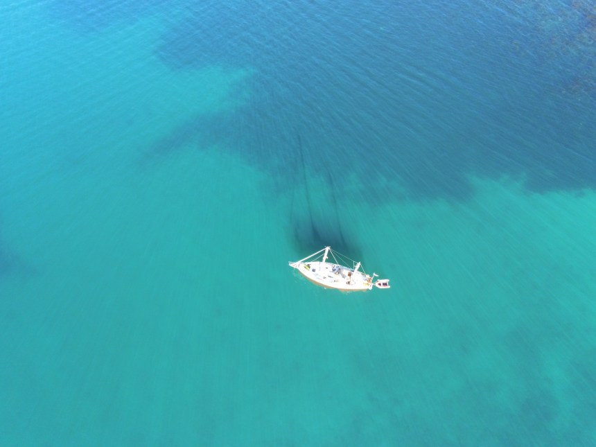 Seefalke at anchor from drone