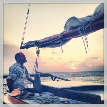 captain rob drivin' the boat.