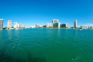 Playing with my fisheye lens. The skyline (and my happy shadow.)