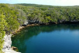 The blue hole on Hoffman Cay.
