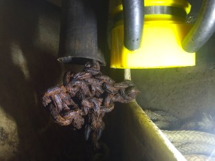 Ball of rusted up anchor chain