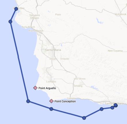 Route from Morro Bay to Santa Barbara
