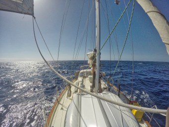 This is after we lost the use of our mainsail due to an issue with our gooseneck.