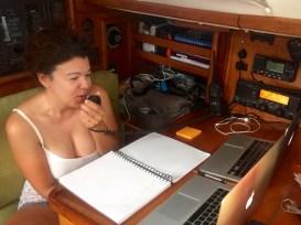 Viviane doing her net controller duties for the Amigo Net.