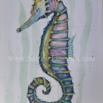 sailing luna sea original watercolor seahorse painting