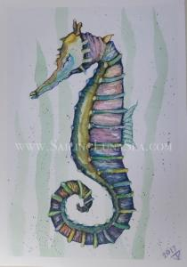 sailing luna sea original watercolor seahorse painting