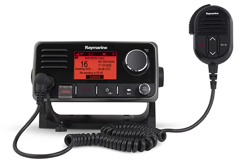 Ray60 VHF at Switchpanel and additional VHF handset at helm station