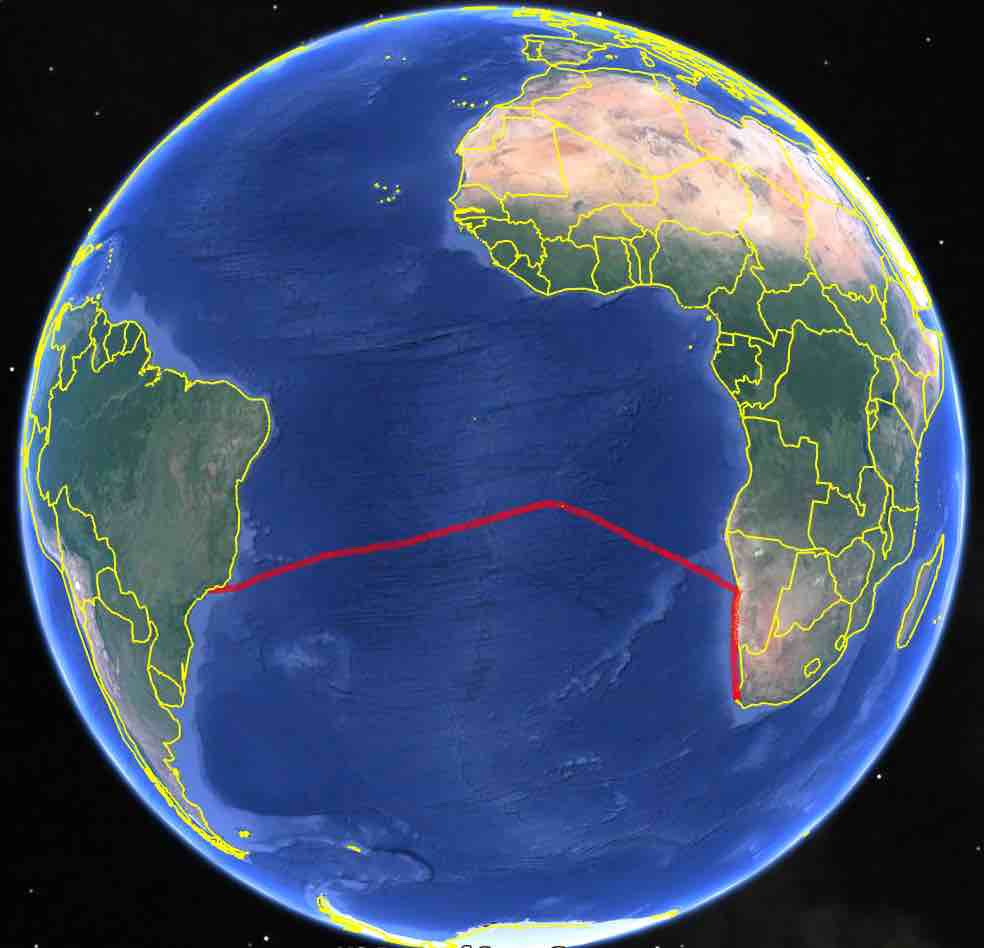 Our ocean crossing track on the globe