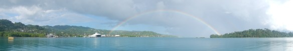 Full rainbow stretching from Port Antonio to Navy Island.