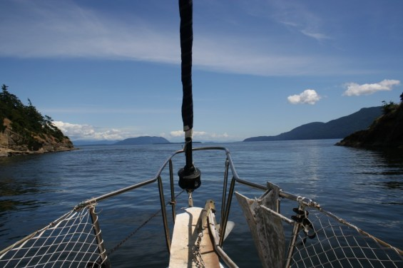 Looking out of Snoring Bay from our mooring.