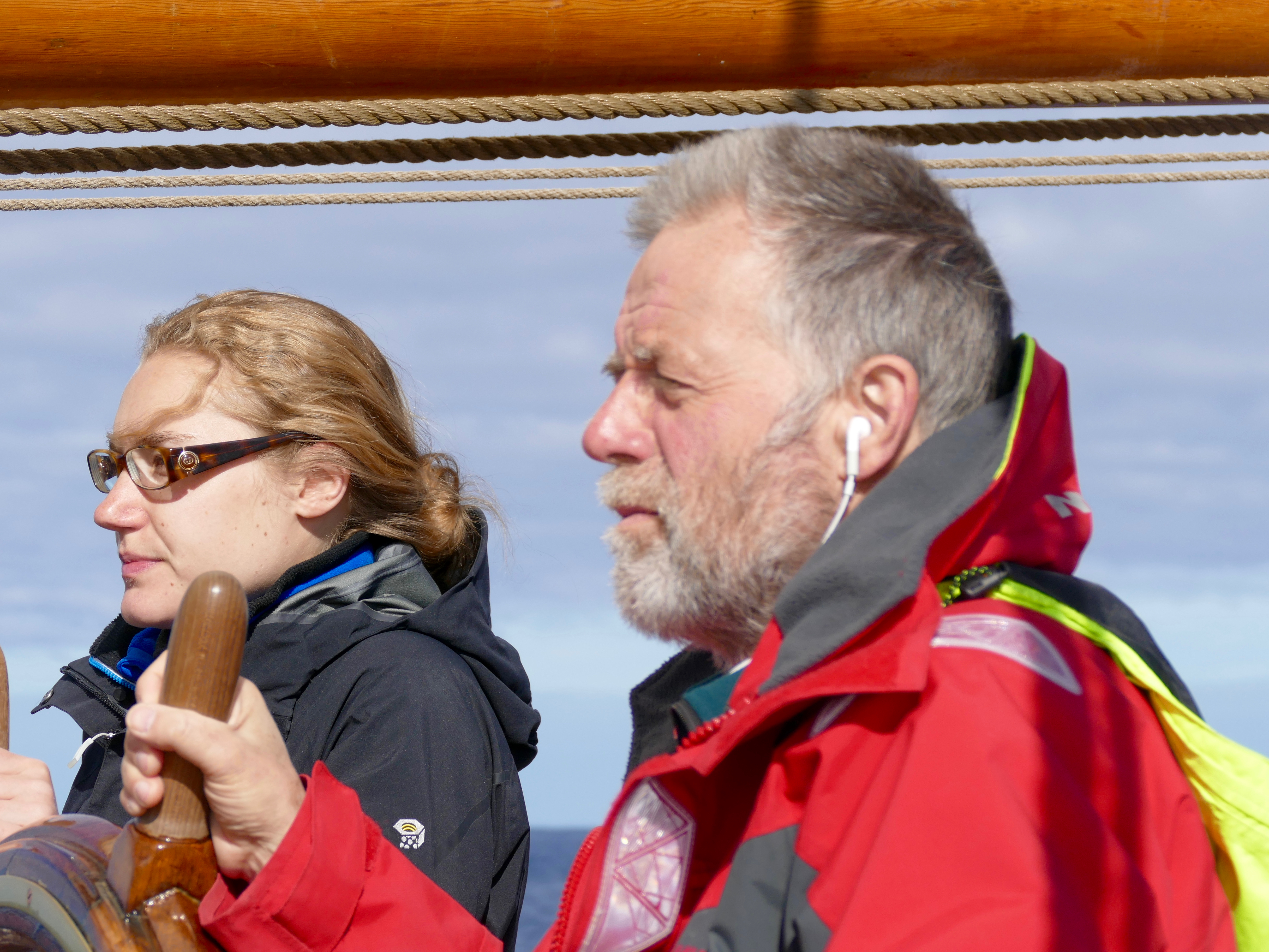Rob Dan and Clara at the helm of Europa