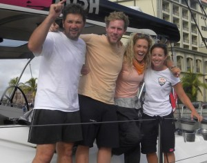 Salty sea dogs arrive in Mauritus after the final grueling 24 hours at sea!  Certainly three of us were glad to be on terra firma!