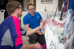 Anders Gaasedal and Johan Sahlström show off their 2-meter Lego model of the SCA Volvo 65.