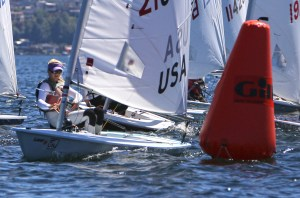 Talia Toland winning the Leiter Cup this year on Lake Washington. Jan Anderson photo.