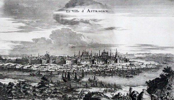 Конраад Деккер. Вид города Астрахани и корабля «Орёл»