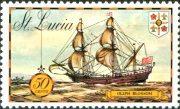Корабль на марке Sent Lucia