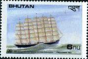 Марка парусник Пруссия - Бутан