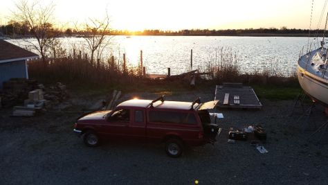 Sunset in the boatyard