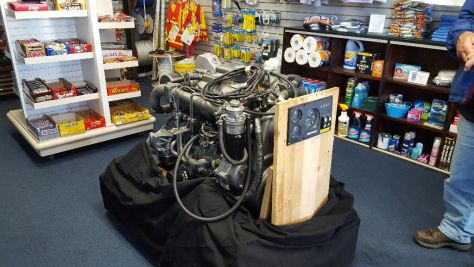 New Engine sitting in marina store