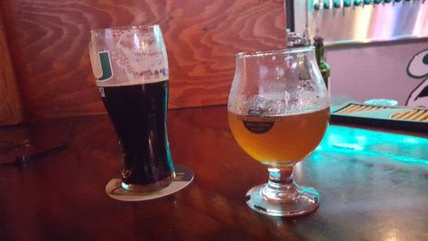 Pops Porter on left - both beers local to Miami.