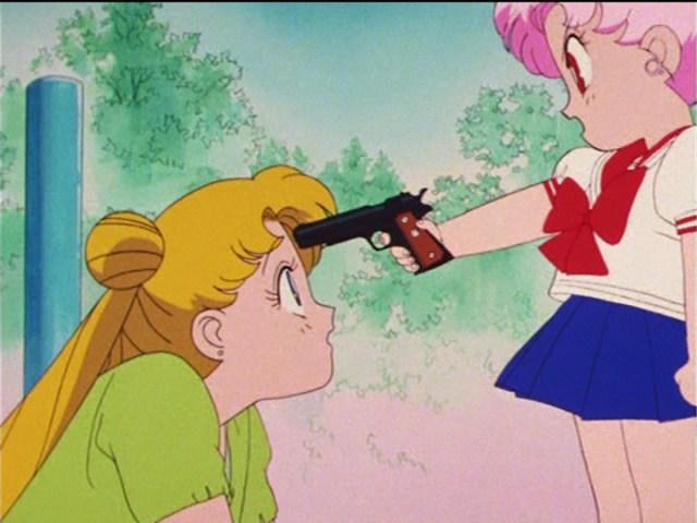 Image result for chibi-usa pulls gun on usagi