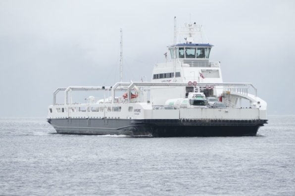 """The world's first fully electric car ferry """"Ampere"""" in Sognefjord, Norway"""