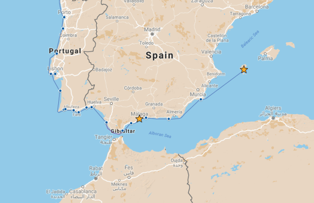 Our route from Malaga to Ibiza