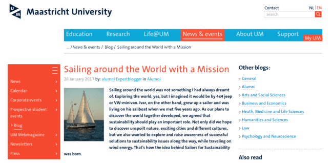 Sailors for Sustainability at Maastricht University