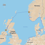 Our route from Bergen to Isle of Islay