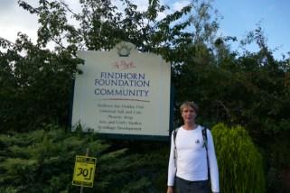 Ivar at ecovillage Findhorn entrance
