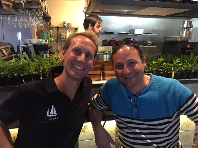 Floris and Andrés in SlowFood restaurant Somorrostro