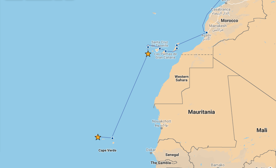Our route from El Hierro to Mindelo
