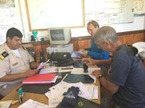 Floris and Willy completing paperwork at the Prefectura (Picture: Pazzo crew)